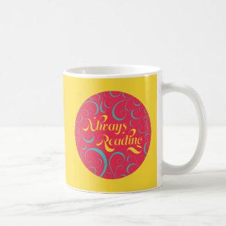 Siempre lectura de amarillo azul rosado brillante taza de café