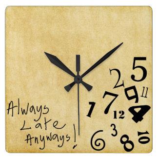 ¡Siempre tarde de todos modos reloj de pared!