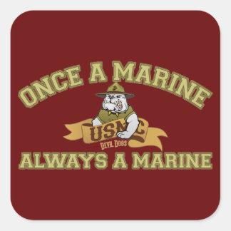 Siempre un infante de marina pegatina cuadrada