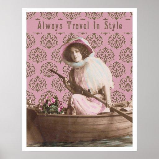 Siempre viaje en collage del vintage del estilo poster