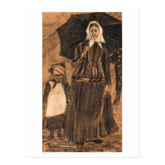 Sien under Umbrella with Girl, Vincent van Gogh Post Card