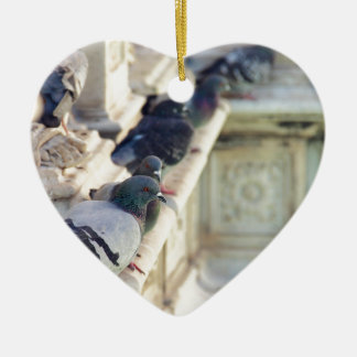 SIENA, ITALY Piazza del Campo Double-Sided Heart Ceramic Christmas Ornament