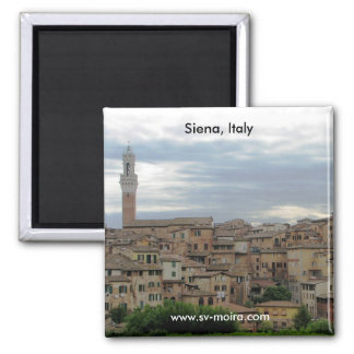 Siena, Italy, tower of City Hall at left 2 Inch Square Magnet