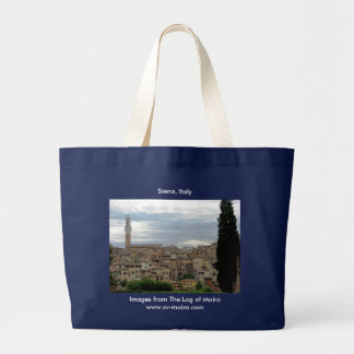 Siena, Italy, tower of City Hall at left Large Tote Bag