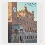 Siena - mañana de Palazzo Pubblico Pegatina Cuadrada
