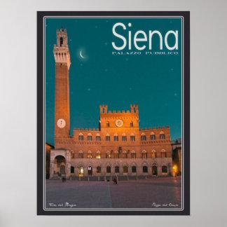 Siena - noche de Palazzo Pubblico Posters