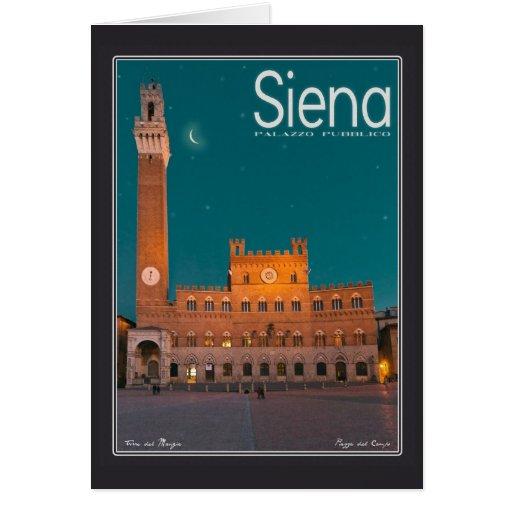 Siena - noche de Palazzo Pubblico Tarjeta