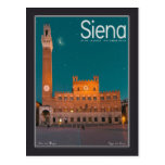 Siena - noche de Palazzo Pubblico Tarjeta Postal