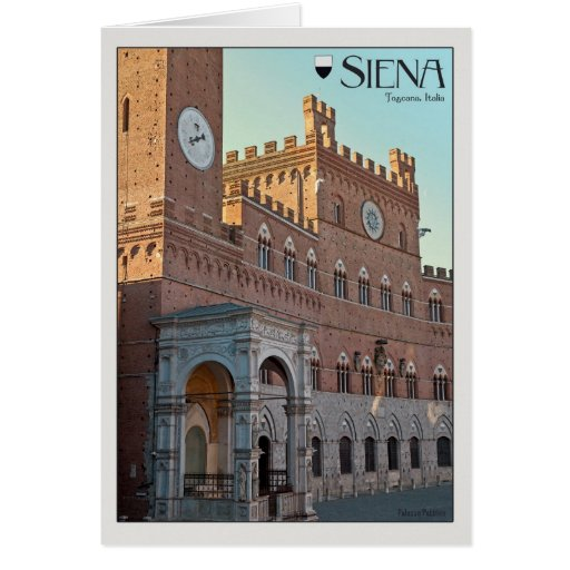 Siena - Palazzo Pubblico Morning Greeting Card