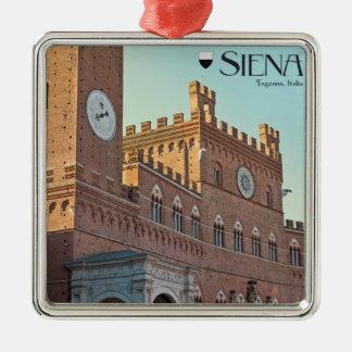 Siena - Palazzo Pubblico Morning Square Metal Christmas Ornament