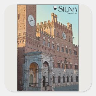 Siena - Palazzo Pubblico Morning Square Sticker