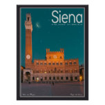 Siena - Palazzo Pubblico Night Print