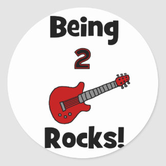 ¡Siendo 2 rocas!  con la guitarra Pegatinas Redondas