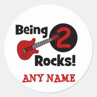 ¡Siendo 2 rocas con la guitarra Pegatinas Redondas