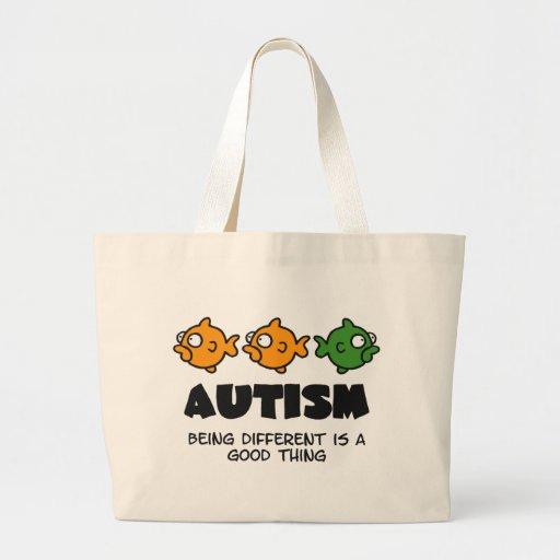Siendo diferente - diseño del autismo bolsa tela grande