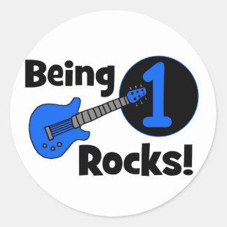 ¡Siendo rocas 1! con la guitarra azul Pegatina Redonda