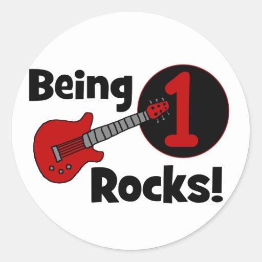 ¡Siendo rocas 1! con la guitarra roja Pegatina Redonda