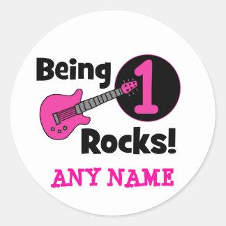¡Siendo rocas 1! con la guitarra rosada Pegatina Redonda