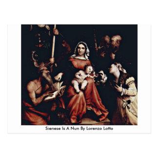 Sienese Is A Nun By Lorenzo Lotto Postcard
