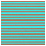 [ Thumbnail: Sienna and Aqua Colored Stripes Pattern Fabric ]