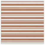 [ Thumbnail: Sienna and Beige Colored Lined Pattern Fabric ]