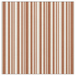 [ Thumbnail: Sienna and Bisque Striped/Lined Pattern Fabric ]