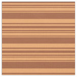 [ Thumbnail: Sienna and Brown Pattern of Stripes Fabric ]