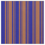 [ Thumbnail: Sienna and Dark Blue Colored Stripes Fabric ]