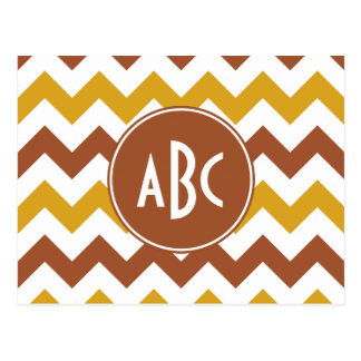 Sienna and Goldenrod Zigzag Monogram Post Card