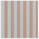 [ Thumbnail: Sienna and Grey Lined Pattern Fabric ]