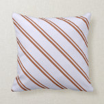 [ Thumbnail: Sienna and Lavender Stripes/Lines Pattern Pillow ]