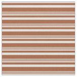 [ Thumbnail: Sienna and Light Cyan Lines Pattern Fabric ]