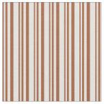 [ Thumbnail: Sienna and Light Cyan Pattern of Stripes Fabric ]