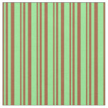 [ Thumbnail: Sienna and Light Green Stripes Pattern Fabric ]