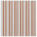 [ Thumbnail: Sienna and Light Grey Stripes/Lines Pattern Fabric ]