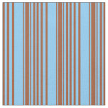 [ Thumbnail: Sienna and Light Sky Blue Colored Lines Pattern Fabric ]