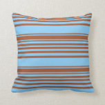[ Thumbnail: Sienna and Light Sky Blue Colored Lines Pattern Throw Pillow ]
