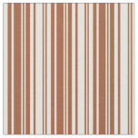 [ Thumbnail: Sienna and Light Yellow Pattern of Stripes Fabric ]
