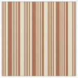 [ Thumbnail: Sienna and Pale Goldenrod Lined/Striped Pattern Fabric ]