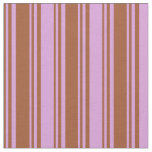 [ Thumbnail: Sienna and Plum Colored Stripes Fabric ]