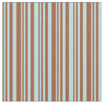 [ Thumbnail: Sienna and Powder Blue Colored Striped Pattern Fabric ]