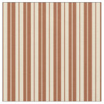 [ Thumbnail: Sienna and Tan Striped Pattern Fabric ]