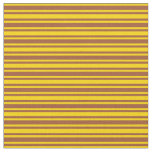 [ Thumbnail: Sienna and Yellow Colored Lines Pattern Fabric ]