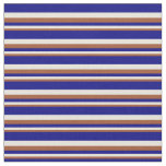 [ Thumbnail: Sienna, Beige & Blue Lines/Stripes Pattern Fabric ]