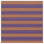 [ Thumbnail: Sienna & Blue Colored Striped Pattern Fabric ]