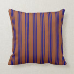 [ Thumbnail: Sienna & Blue Colored Striped Pattern Throw Pillow ]