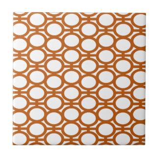 Sienna Brown and White Eyelets Ceramic Tile