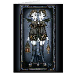 """Sienna & Celeste"" Dragon Twin Fairies Art Card"