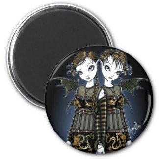 """Sienna & Celeste"" Dragon Twin Fairies Art Magnet"