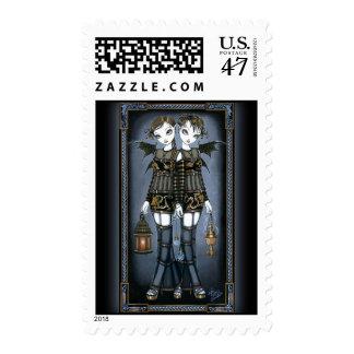 """""""Sienna & Celeste"""" Dragon Twin Fairies Art Postage"""